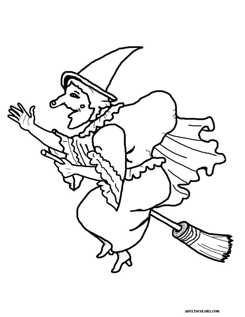 Witch riding on a broom.