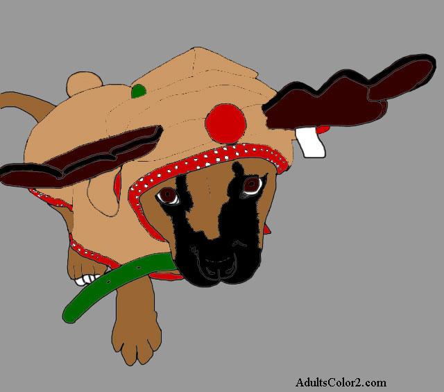 Puppy wearing reindeer costume.