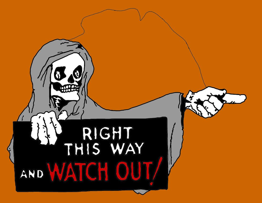 Skeleton holding sign.
