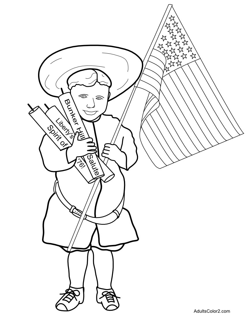 Young boy with fireworks and flag coloring page.