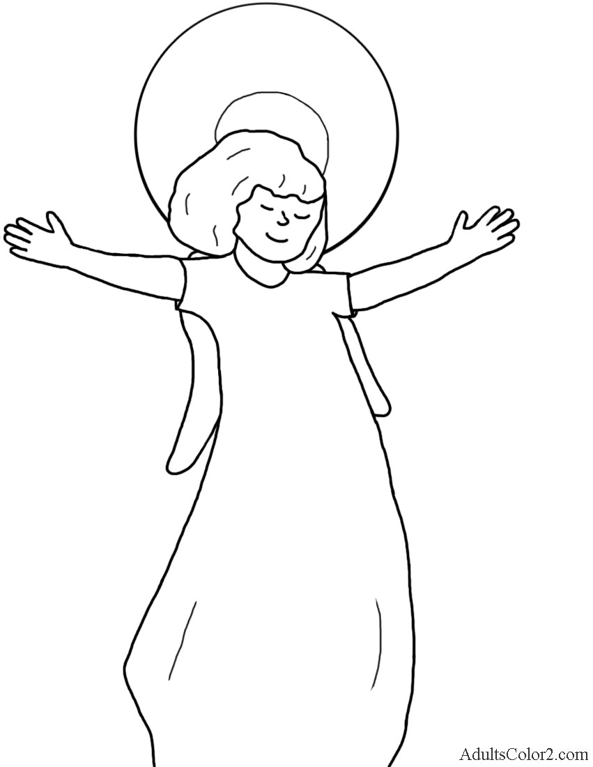 Angel with outstretched arms.