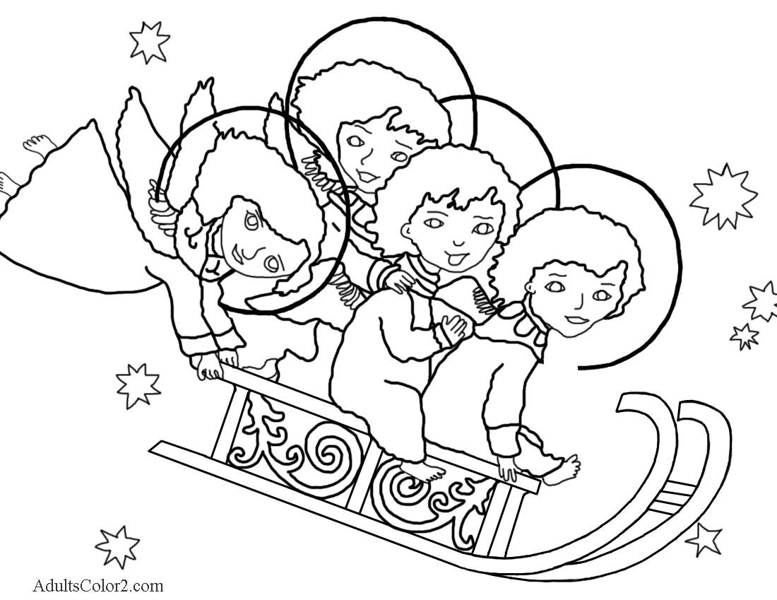 Four angels sledding.