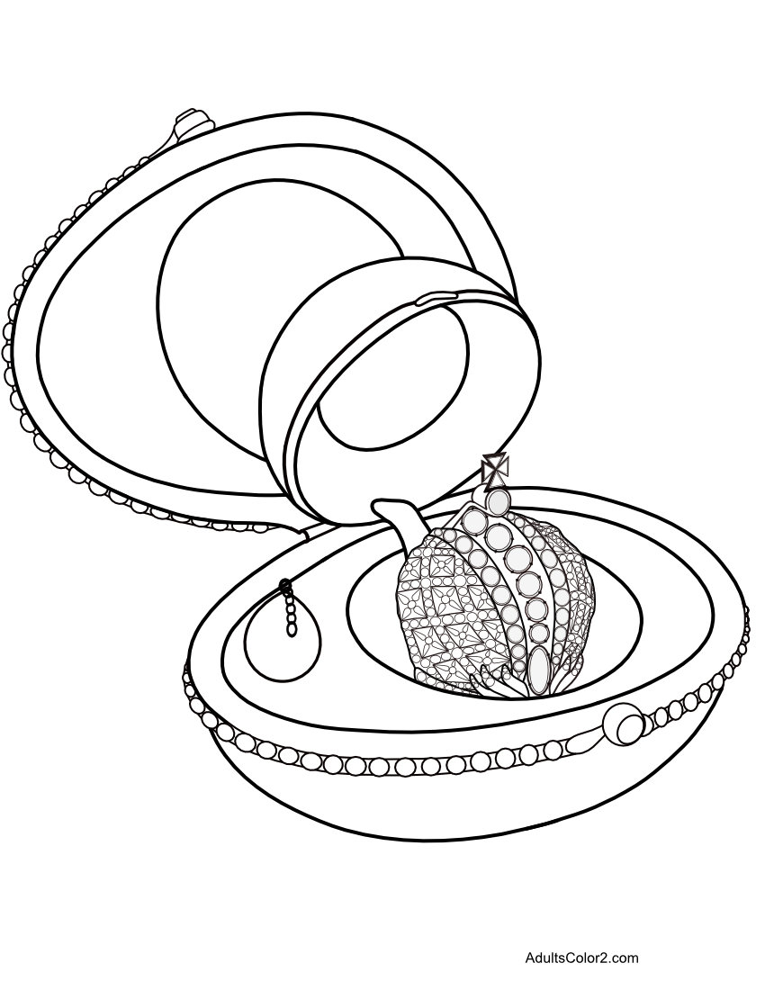 Coloring sheet of Faberge Easter egg with crown surprise.