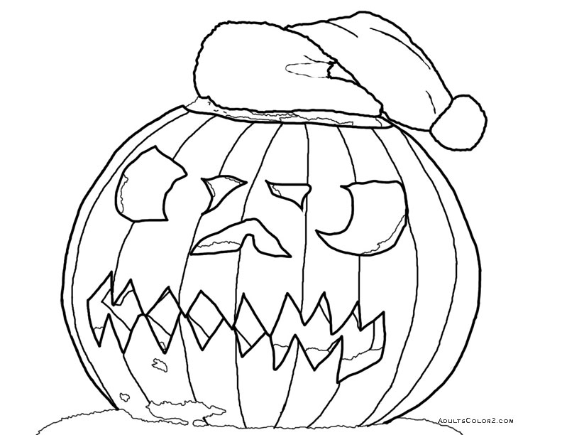 Carved pumpkin with Santa hat.