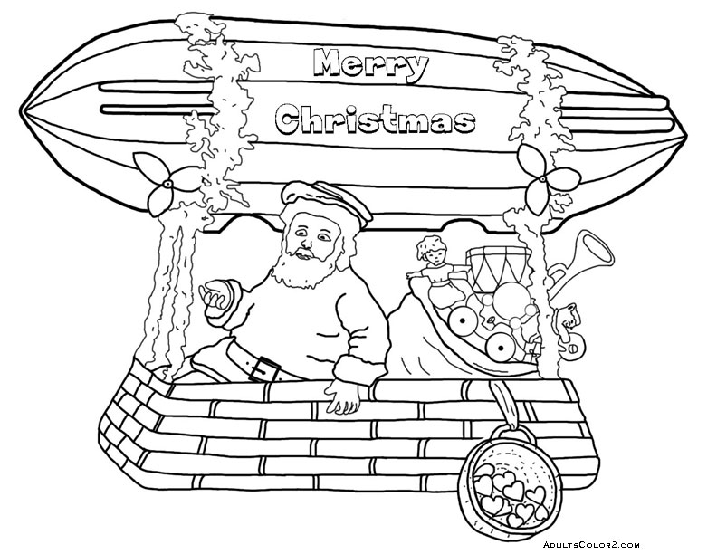 Santa in a Merry Christmas blimp.