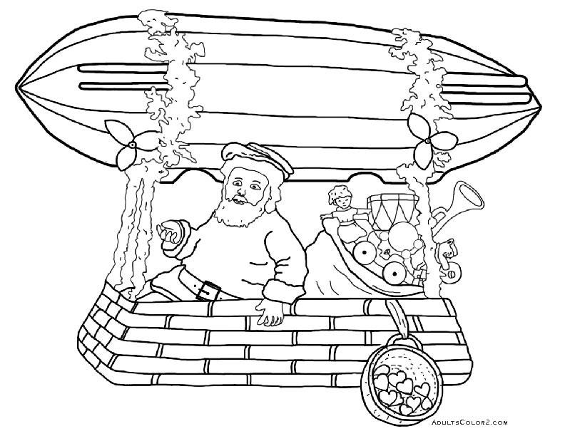 Santa delivering presents via blimp.