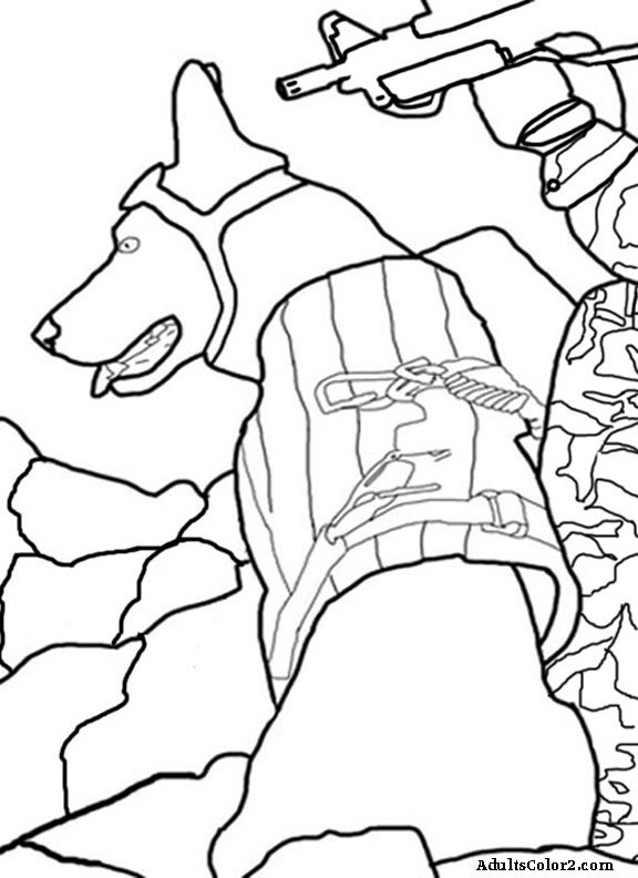 military dog printable coloring pages - photo#21
