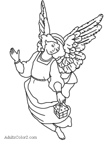 Coloring page derived from Egan Nativity Angel.