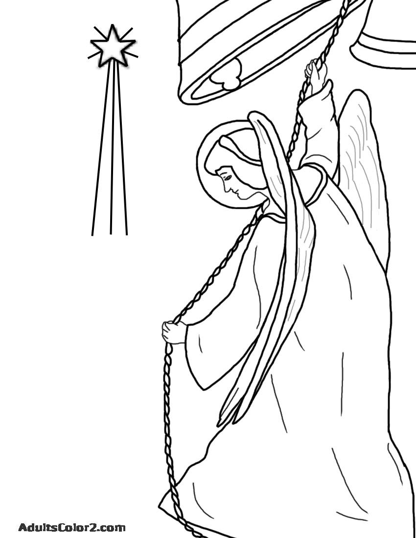 Christmas angel ringing bell.