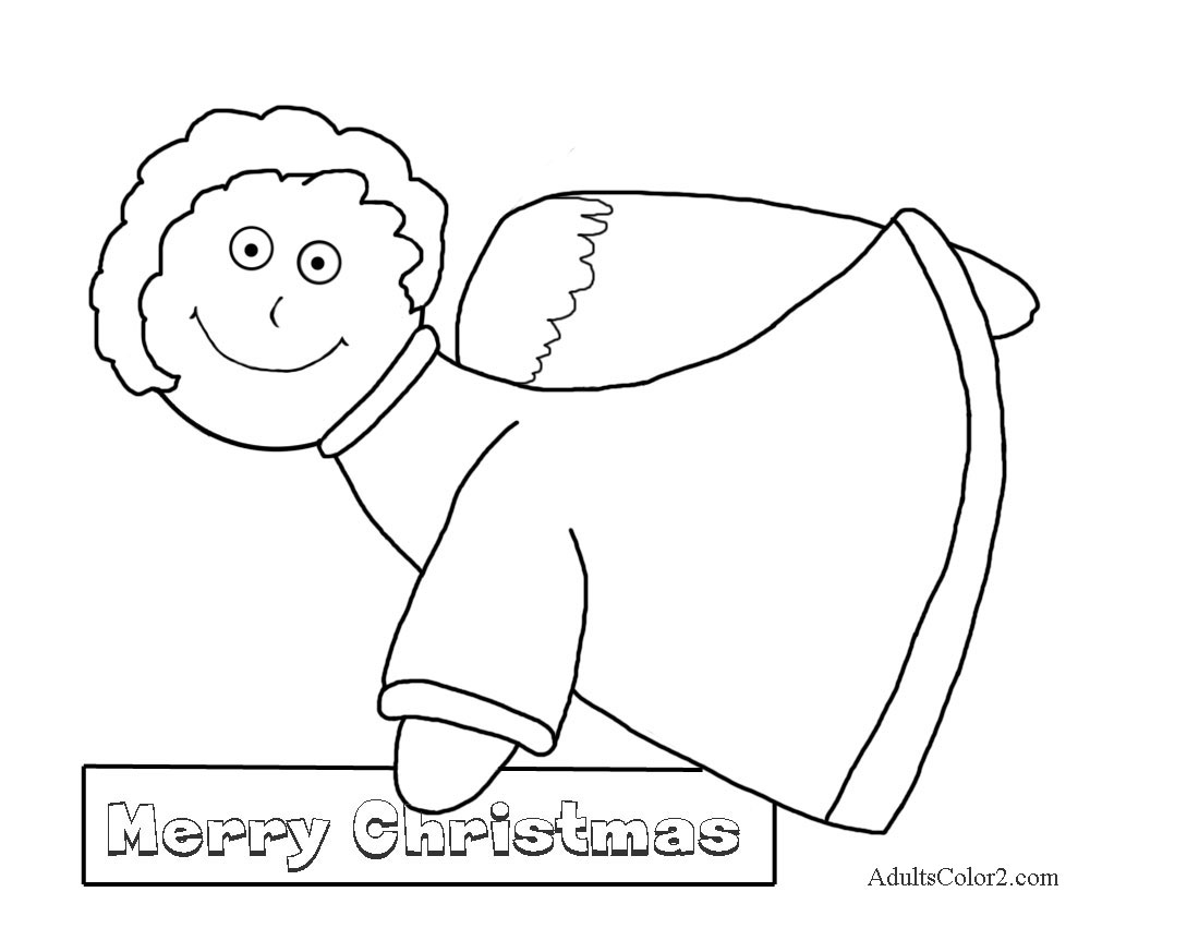 Angel carrying Merry Christmas message.