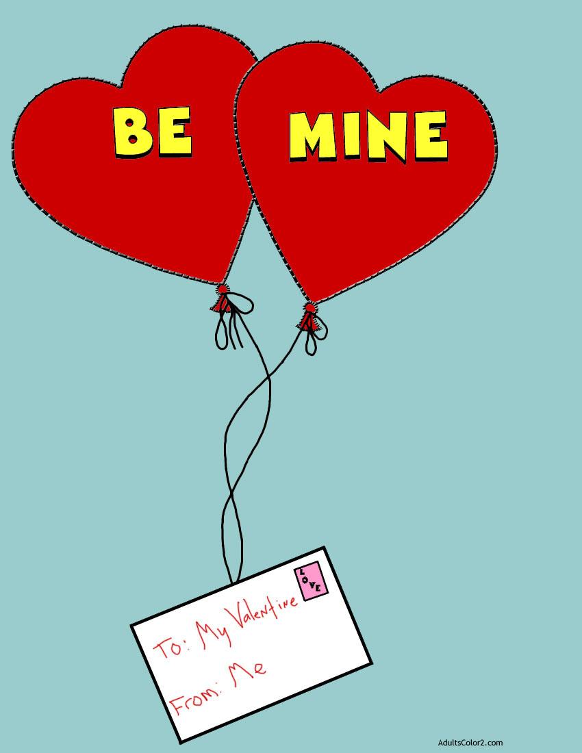 Heart balloons transporting letter.