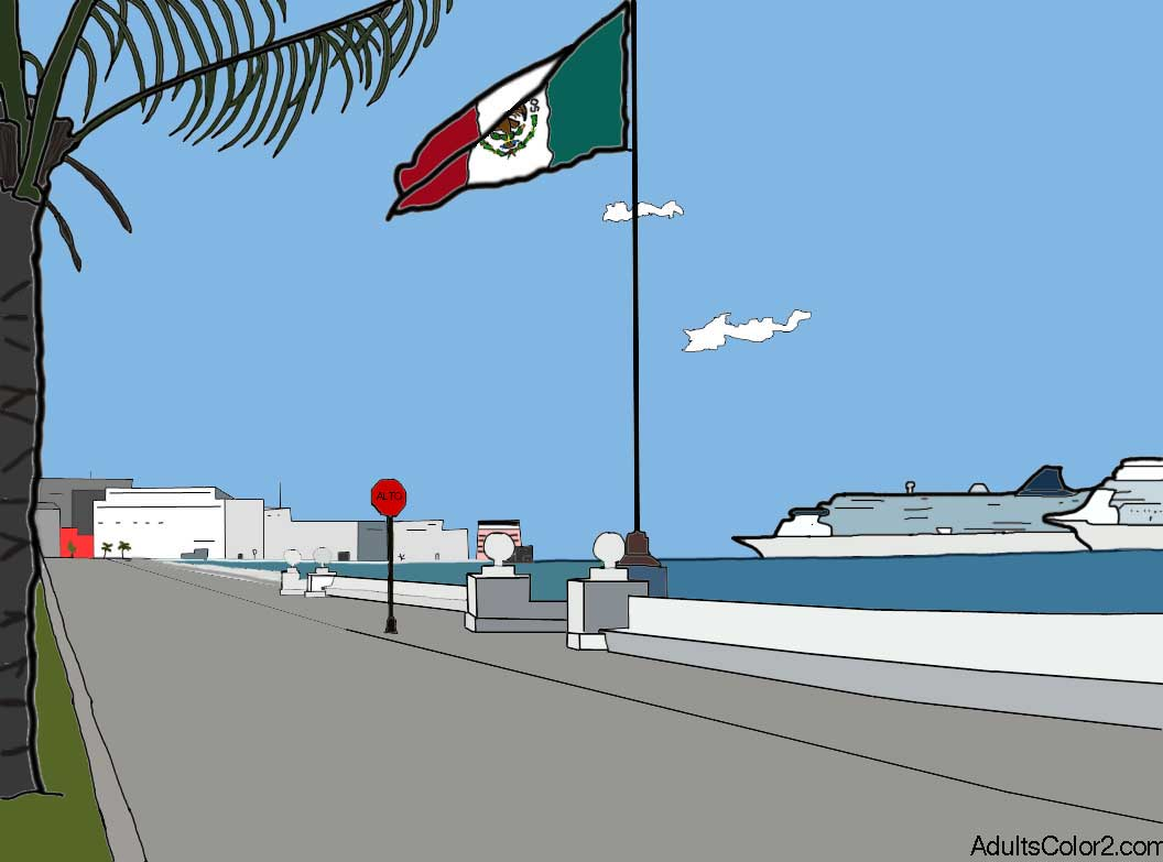 Cozumel sketch colored.