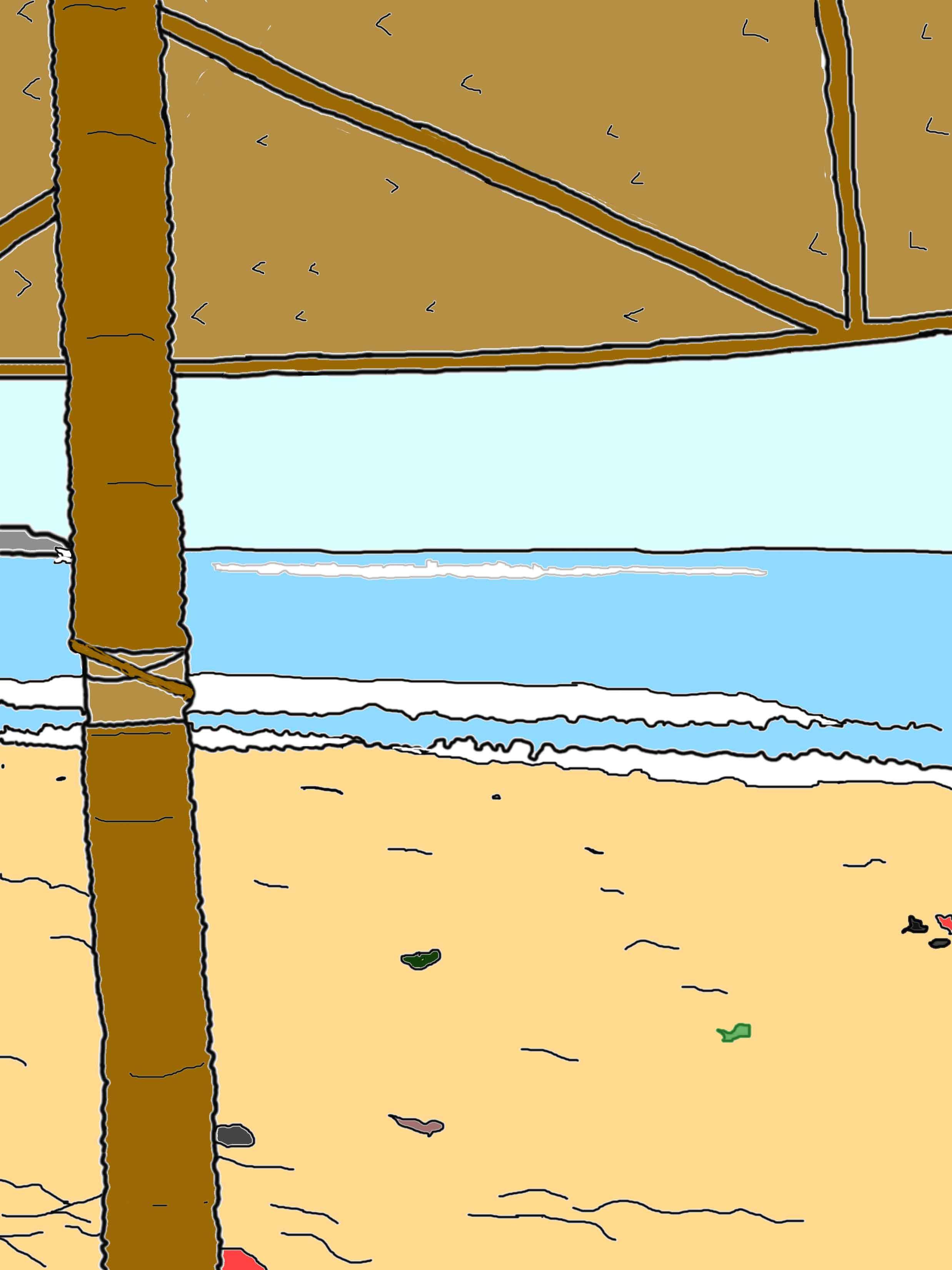 Beach umbrella drawing colored.