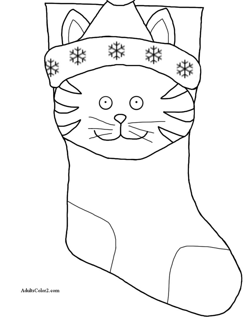 Cat face on a stocking.