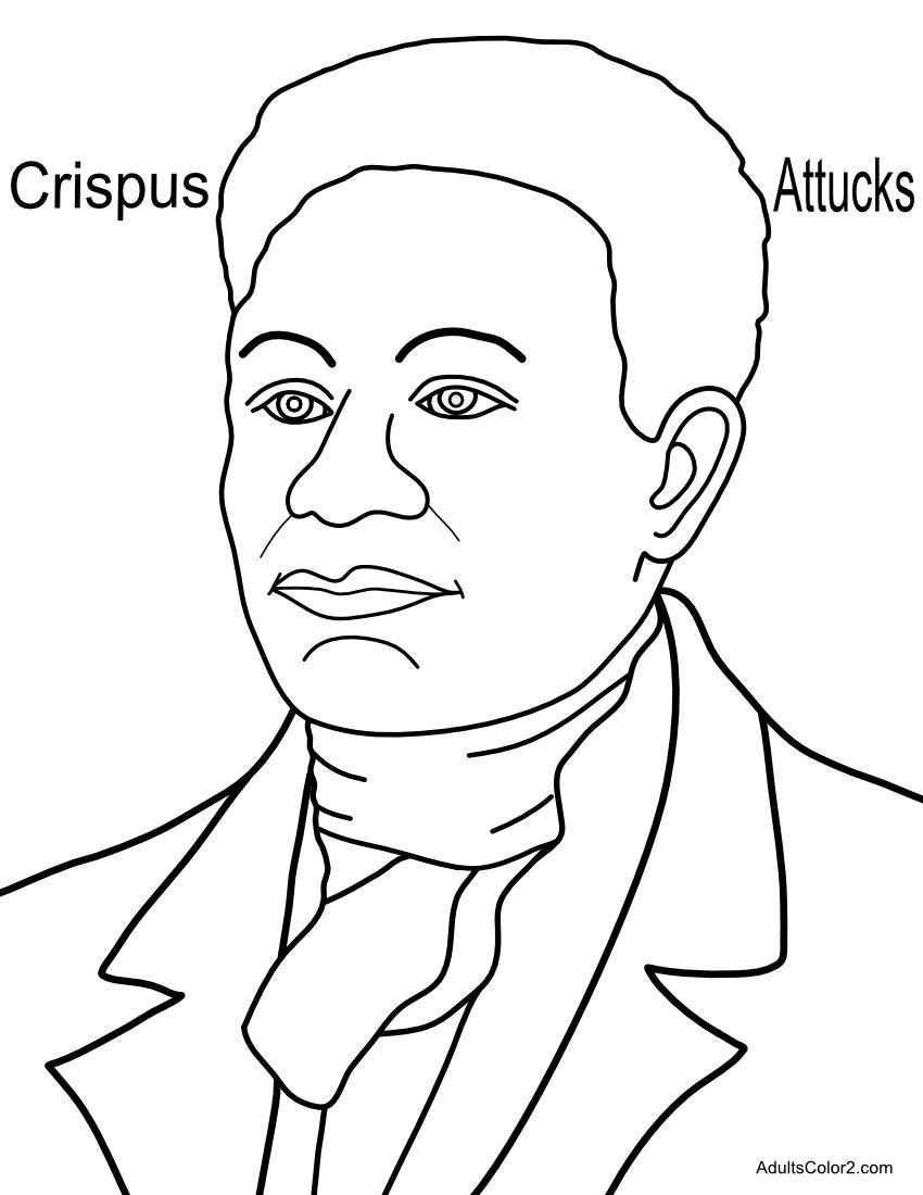 Crispus Attucks American Hero coloring page.