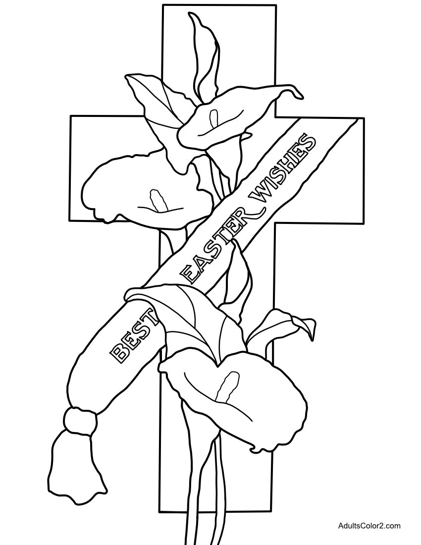 Calla Lily Cross with Best Easter Wishes coloring page.