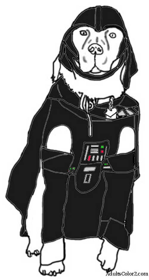 Hound in a colored Darth costume.