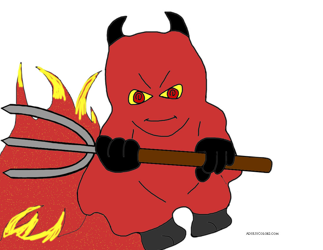 Devil with pitchfork.