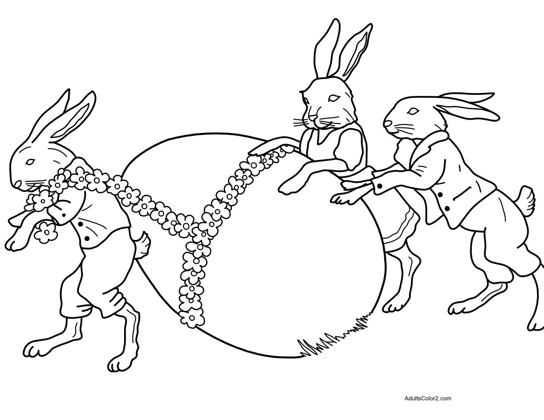 Coloring page of three Easter bunnies dragging a large egg.