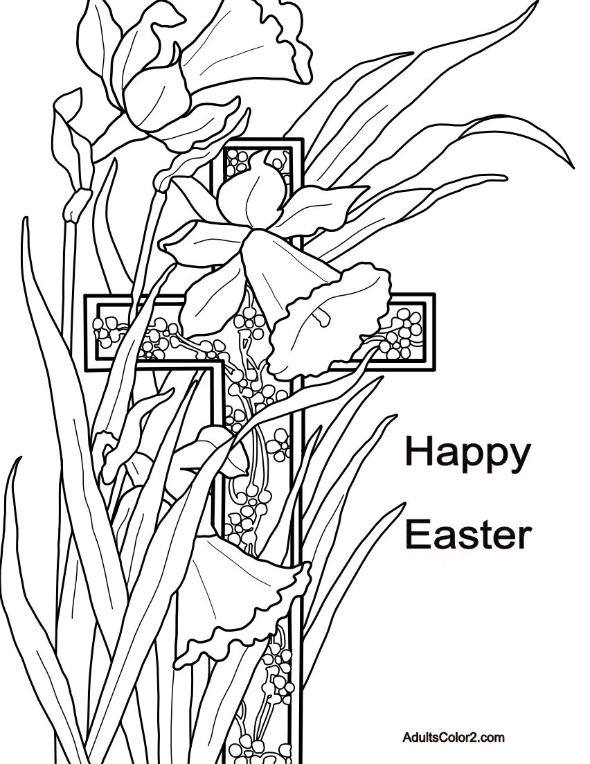 Happy Easter greetings with narcissus and cross drawing.