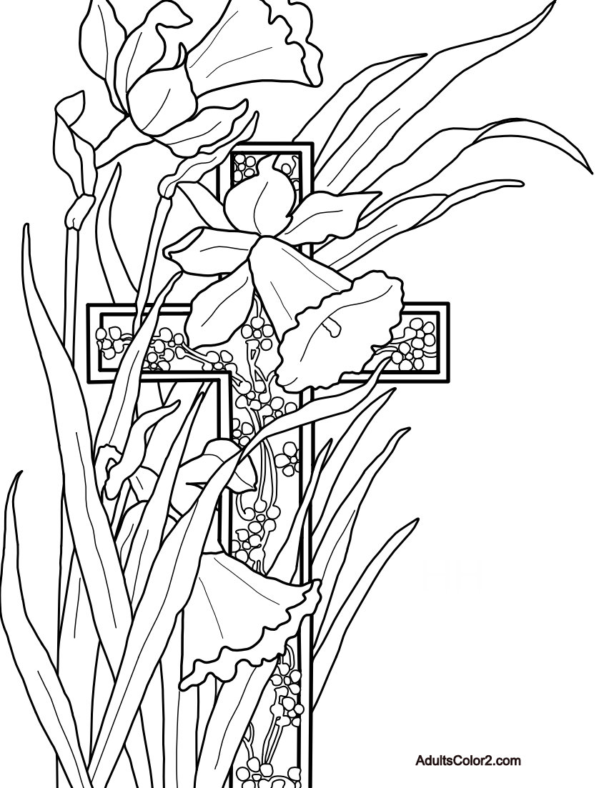 Coloring sheet of cross with Narcissus plants.