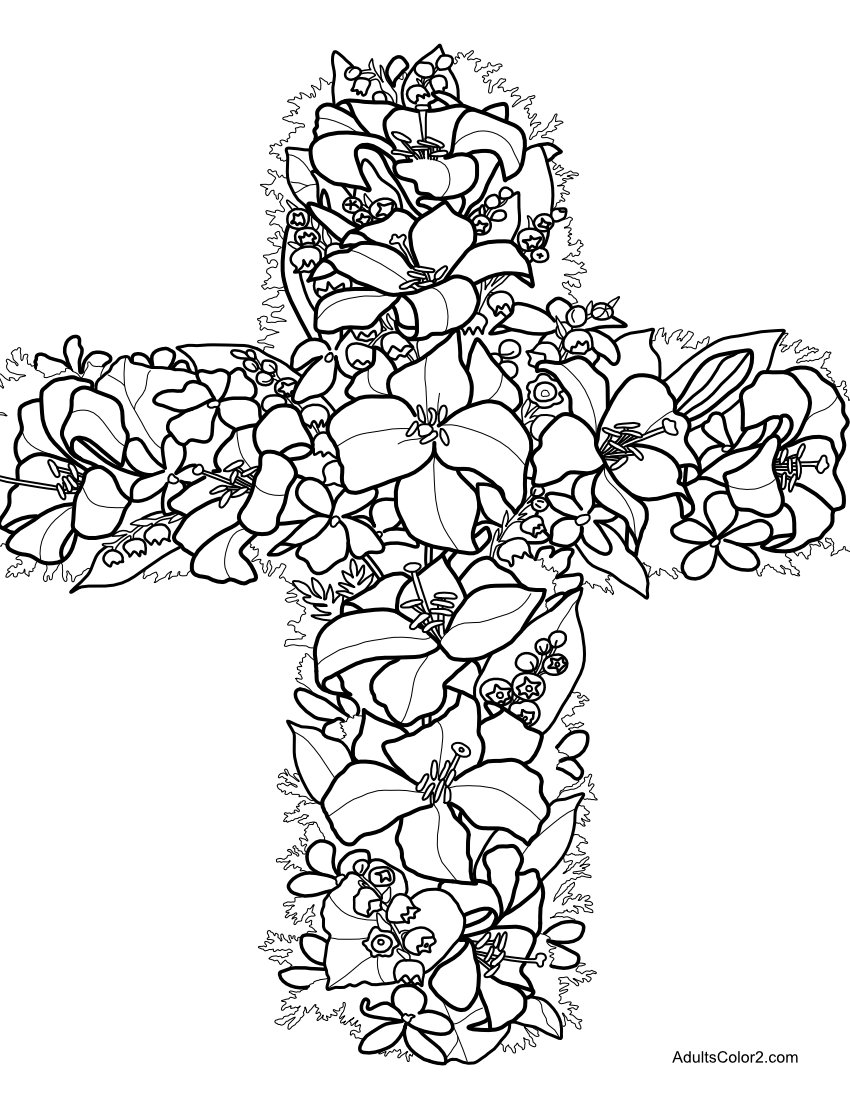 Floral cross covered in Easter lilies coloring page.
