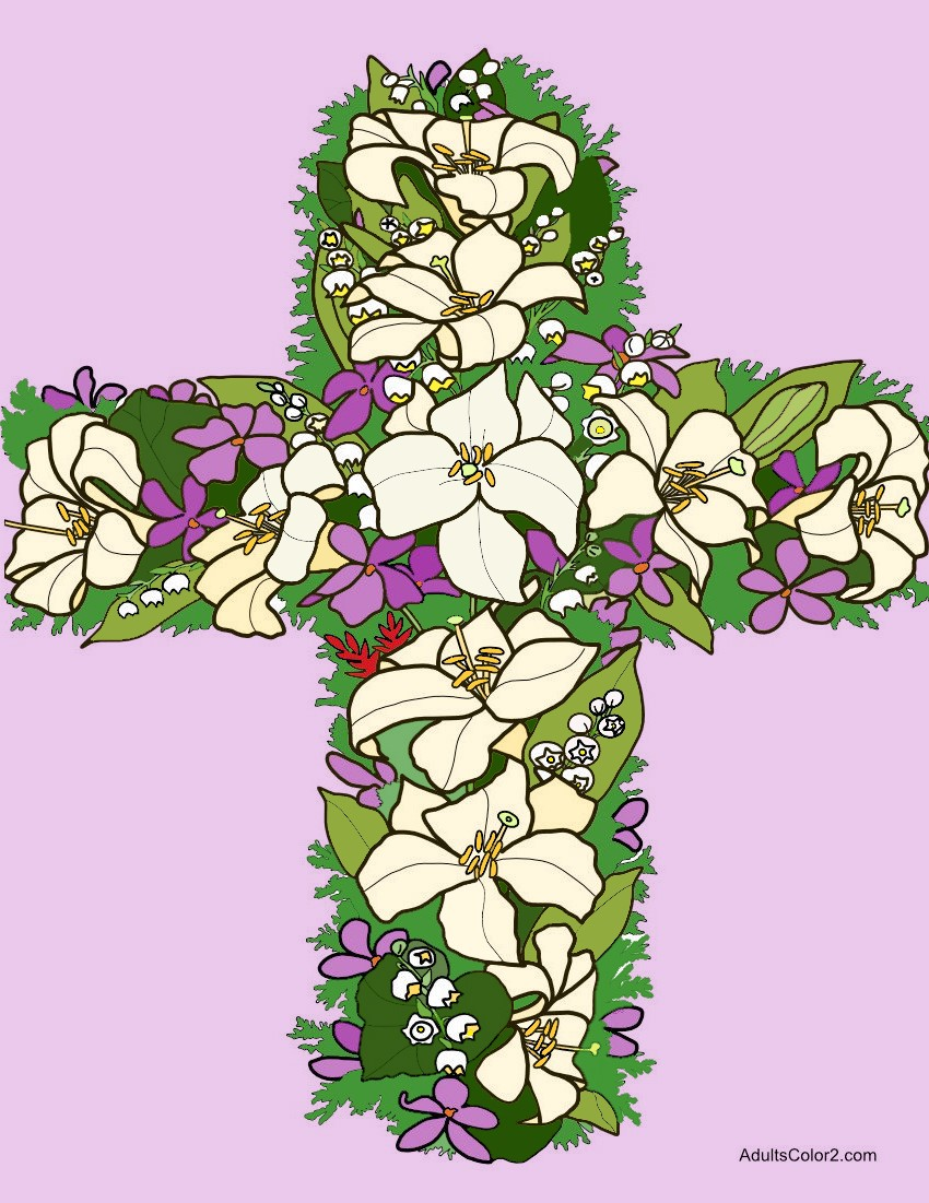Cross made from Easter lilies and other flowers.