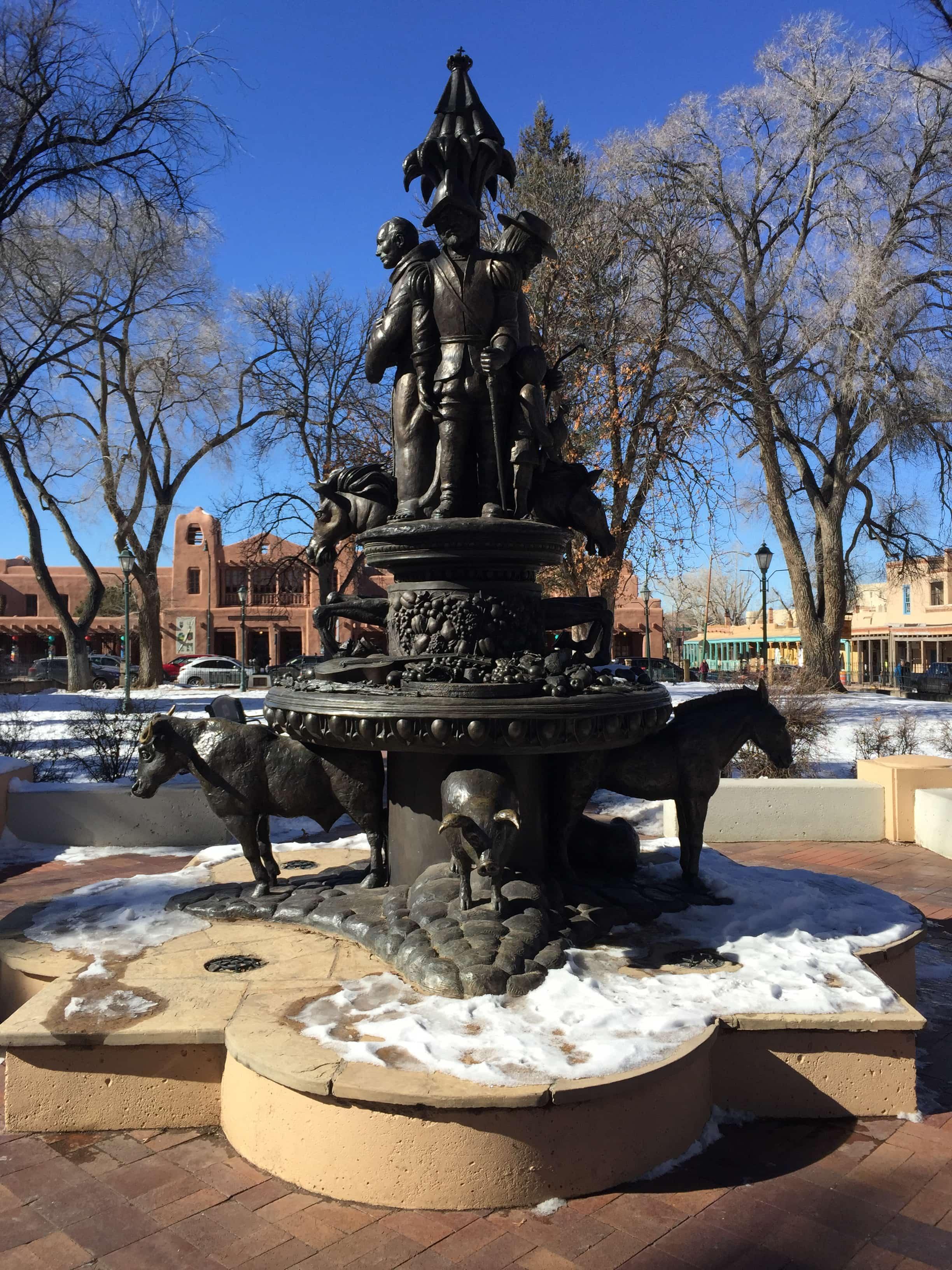 Historic fountain in Santa Fe new Mexico.