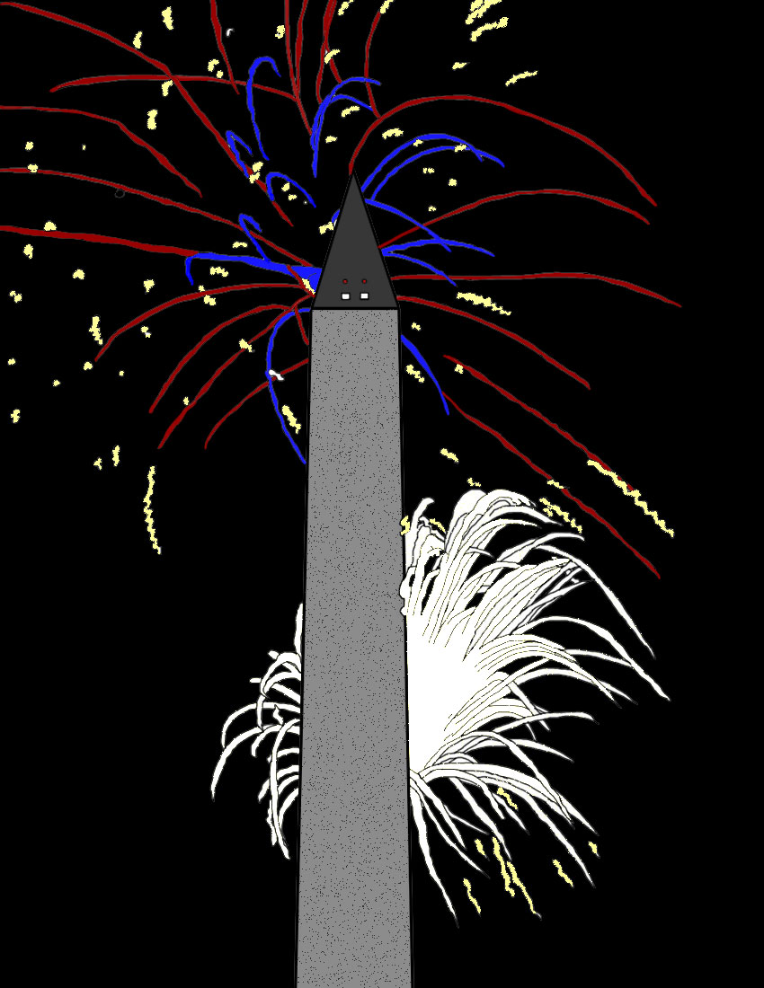 Drawing of fireworks and the Washington Monument.