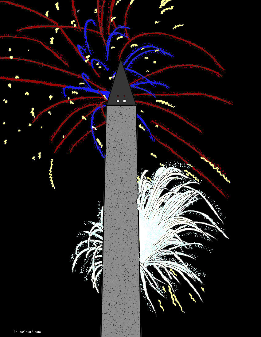 Fourth of July Fireworks behind the Washington Monument.