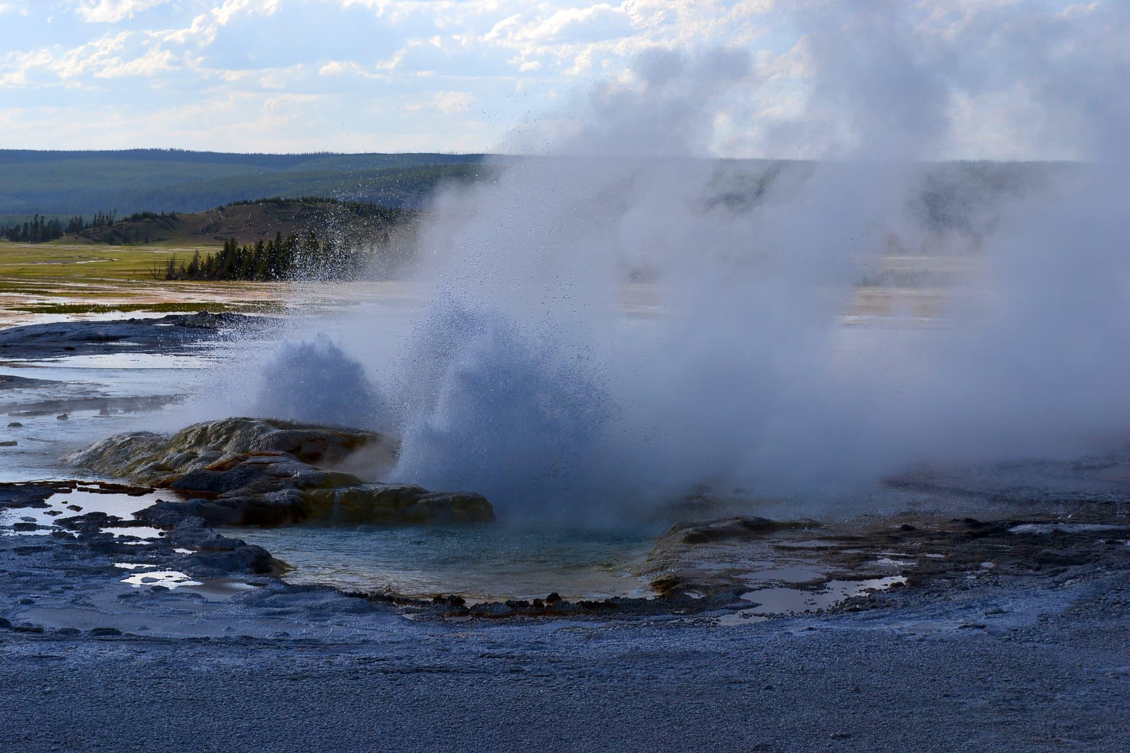 Third photo of continuing geyser eruption.