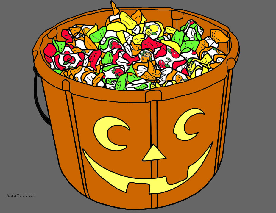 Colored Halloween pumpkin lantern candy bucket.