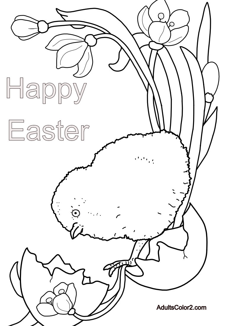 Line drawing of a chick and the words Happy Easter.