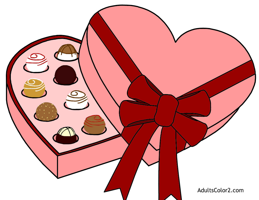 Heart-shaped valentine box of chocolates.