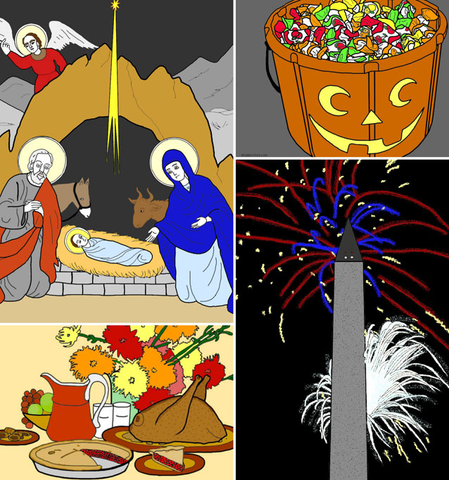 Holiday coloring pages collage image.