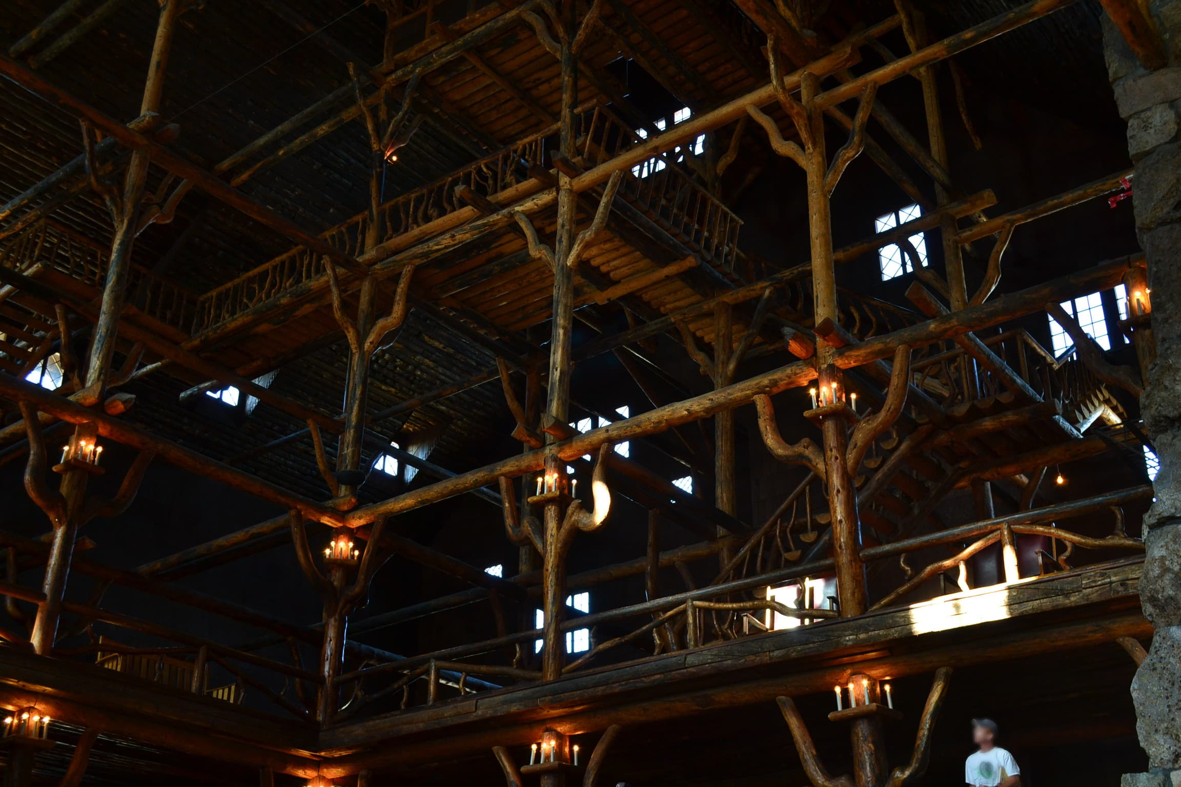 Intricate woodwork in the Old Faithful Inn.