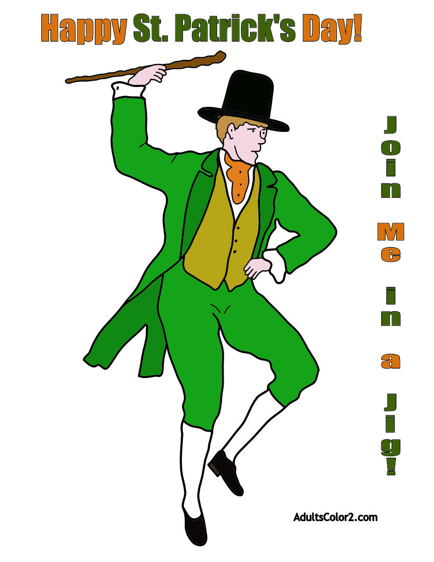 St.Patrick's Day jig coloring page.