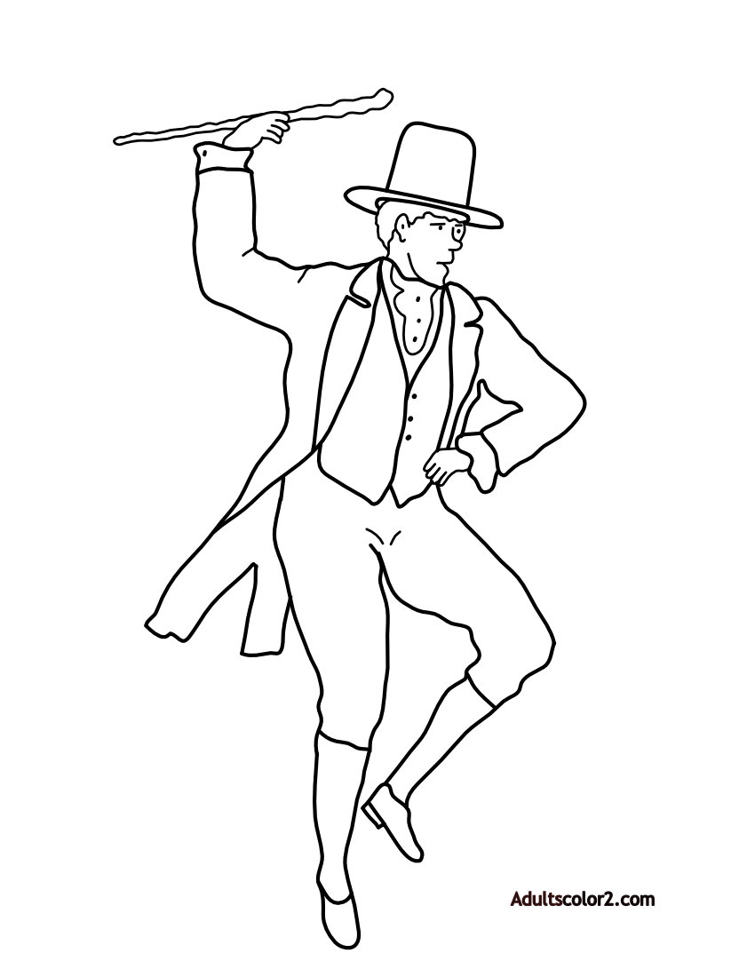 Irish jig adult coloring page.