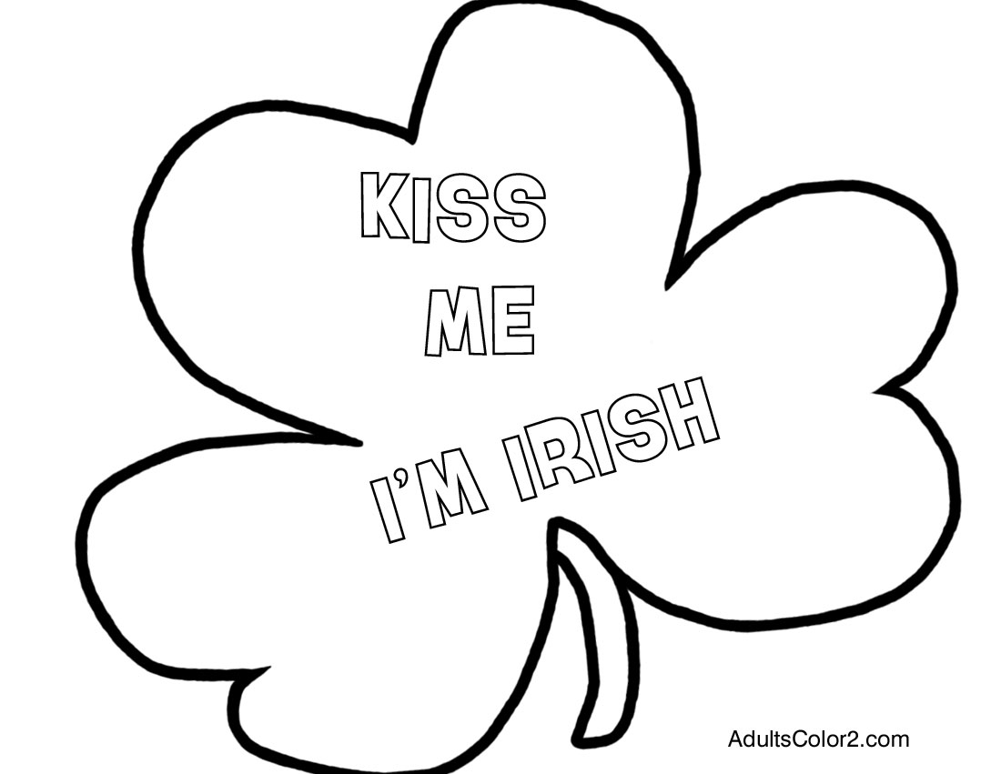 Kiss me I'm Irish shamrock coloring page.