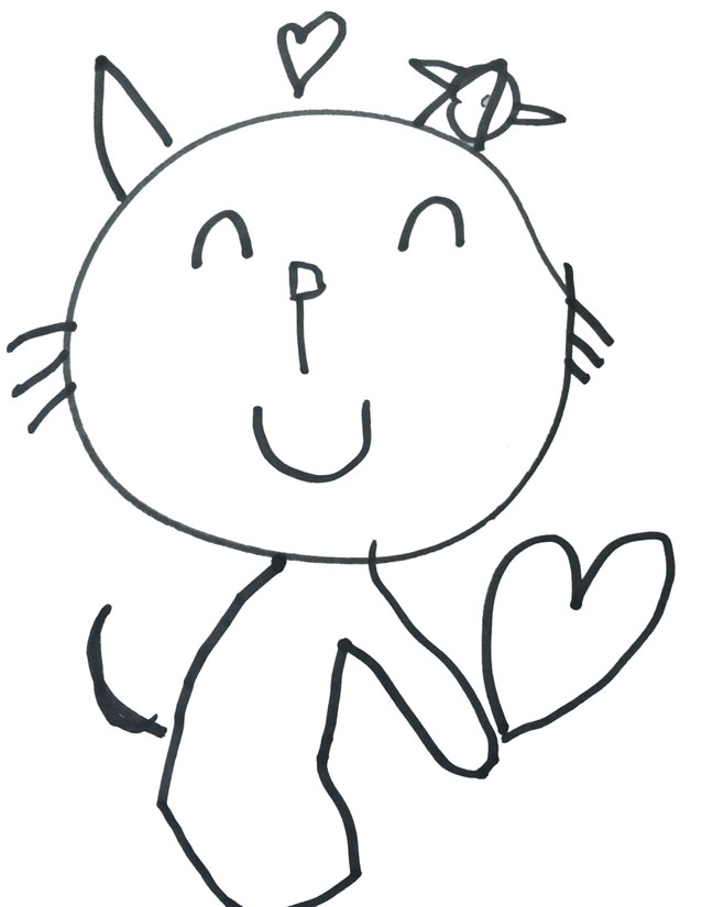 Kitty drawn by five year old.