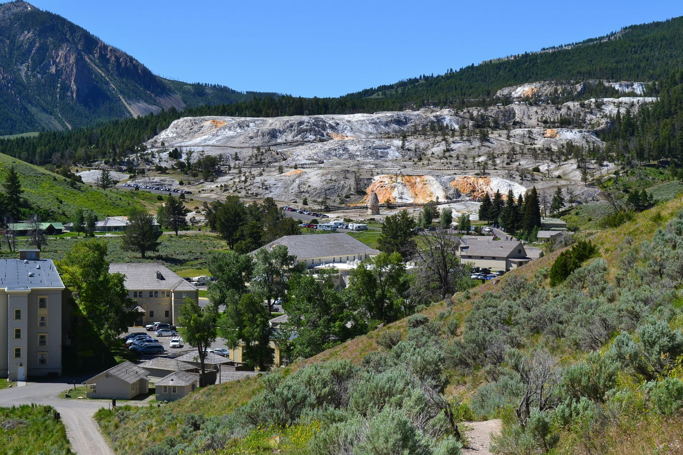 Mammoth Hot Springs view from the Beaver Ponds Trail Yellowstone.