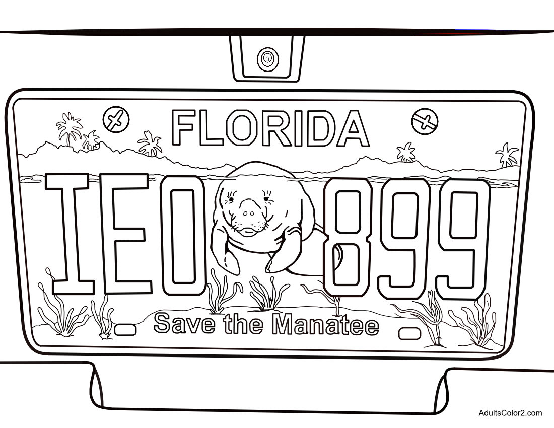 Save the Manatee Florida license plate adult coloring page,