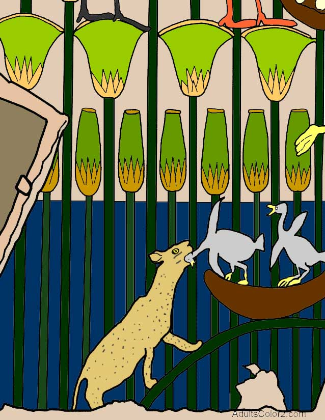 Completed coloring page of a line drawing of  cat hunting in marsh scene.