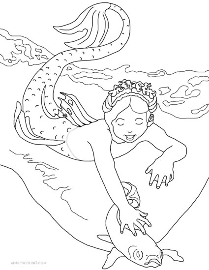 Drawing of a mermaid playing with a fish in the surf.