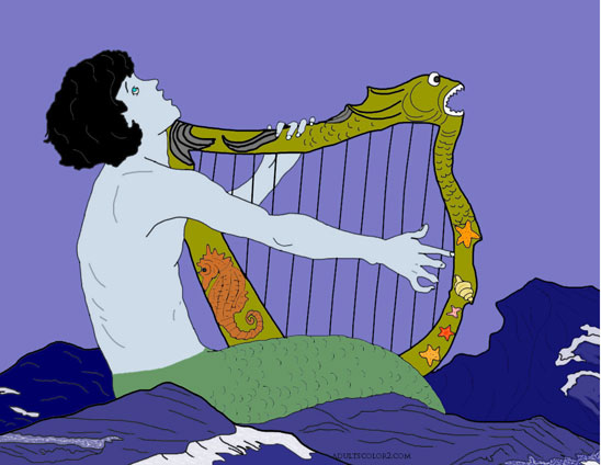 Drawing of a mermaid playing the harp and singing.