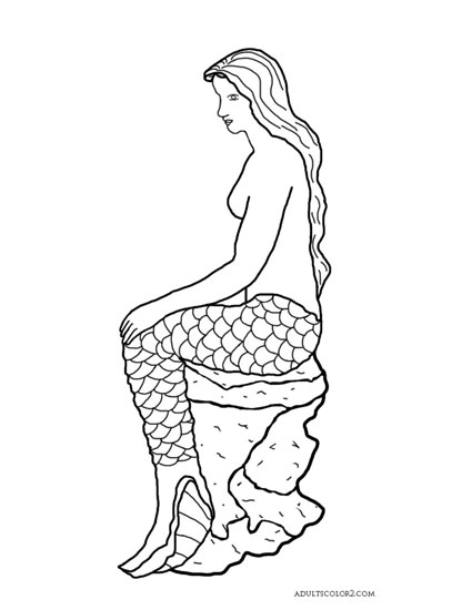 Drawing of a mermaid sitting on a rock.