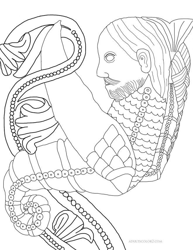 Drawing of a Medieval merman hanging onto a plant.