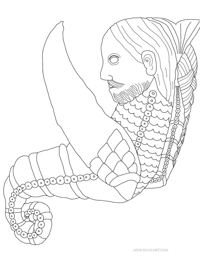 Merman drawing for coloring fun.
