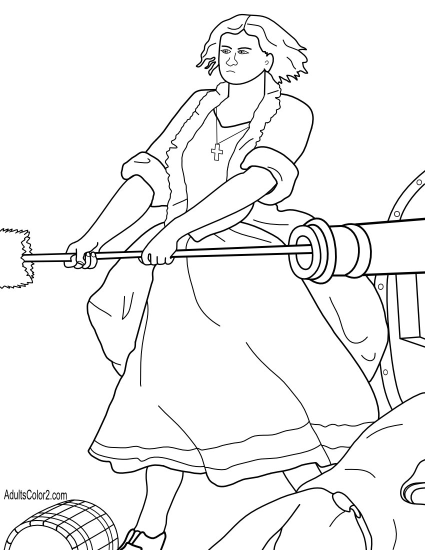 Molly Pitcher Revolutionary War hero coloring page.