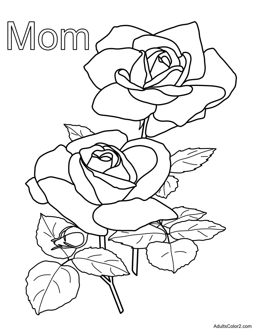 Mom coloring page with roses.